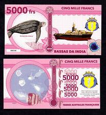 ★★ BASSAS DA INDIA ● TAAF ● BILLET POLYMER 5000 FRANCS ★ COLONIE FRANCAISE