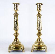 Pair of Gilded Brass Shabbat Judaica Candlesticks Polish Russian Empire?c. 1890