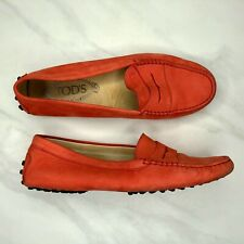 Tod's Gommini Mocassino Driving Loafers Orange Women's Size 36.5 / 7.5