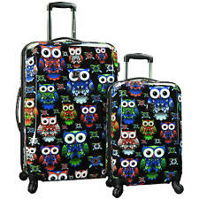 Travelers Choice Cute Unique Owl Print 2pc Hardside Spinner Suitcase Luggage Set