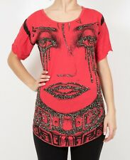 JULIEN CHAMBON RED CREW NECK TOP W/ CRYSTALS XS