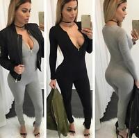 Women Ladies Long Sleeve Playsuit Bodycon Party Jumpsuit Stretch Trousers Cotton