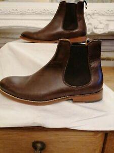 Men's Brown Leather Firetrap Chelsea Boots Size 9