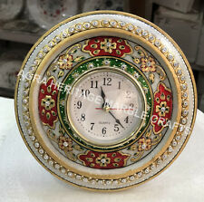 """6"""" Marble Clock Hand Painted Decorative Design Bedroom Hallway Special Gift E457"""