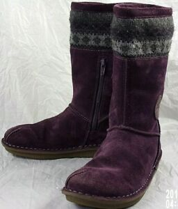 Clarks Girls Boots Winter UK 3F Purple Suede Knit Casual Lined Snow Cold 1045