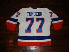 Vintage New York Islanders Pierre Turgeon Authentic Fight Strap NHL Jersey 44 L