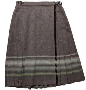 ST MICHAEL UK Wool Blend Brown Buckle Pleat Kilt Skirt UK 16