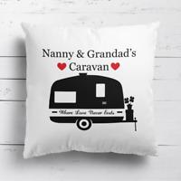 Nanny & Grandad's Caravan Love Hearts Cushion Cover Pillow Case & Free Filling