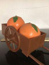 Vintage Salt And Pepper Shaker Set Plastic Oranges Cart Toothpick Holder
