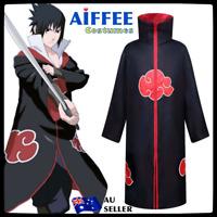 Blood Red Naruto AKATSUKI ROBE Cloak Uchiha Itachi Cosplay Costume Claok Cape AU