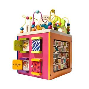 B Toys 44163 Zany Zoo Wooden Activity Cube