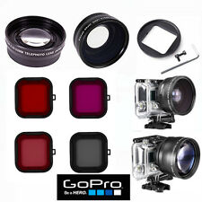 Fisheye Lens + Telephoto Lens + 4 Hd Filters For Gopro Hero4 Black And Silver