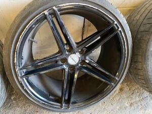 AUDI 19 INCH TWIN 5 SPOKE GLOSS BLACK ALLOYS WITH TYRES 235 35 19