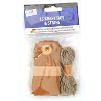 15 Kraft Tags  Blank Luggage Gift Labels with Twine  String - UK Stockist