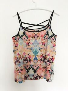 PEACOCKS 12 40 Womens Top Cami Floral Tshirt L Camisole Sleeveless Layer Vest x