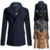 Mens Pea Coat Warm Wool Blend Double Breasted Dress Jacket Peacoat Outwear Tops