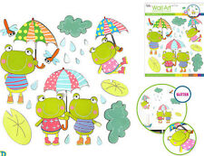 FROGS glitter 3D wall stickers 21 colorful decals room decor lily pad cloud rain