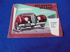 Original 1951 Delahaye Delage Color Brochure French Text
