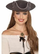Tricorn Pirate Captain Hat Grey, Pirate Fancy Dress, One Size