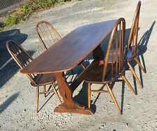 ERCOL ELM TABLE Rectangular 1970s and FOUR Quaker CHAIRS