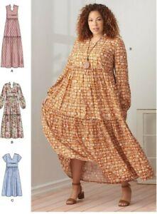 S9265 Sewing Pattern Tiered Dress Boho Style XXS-XXL 36363592655 Simplicity 9265