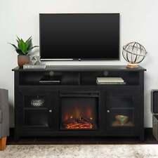 58-inch Black Finish Highboy 2-Door Fireplace Tv Stand Black 58 x 16 x 32h