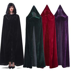 Velvet Hooded Cloak Long Wicca Robe Medieval Witchcraft Larp Cape Unisex Vampire