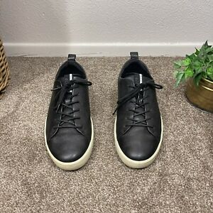 Ecco Danish Design Mens Size 43 US 9-9.5 Black Leather Sneakers Lace Up