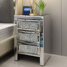 Spark Mirrored Glass 3 Drawer Bedside Table Diamante Crystal Cabinet Nightstand