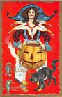 c.1910 Witch/Court Jester & Jack O' Lantern Halloween Greetings post card