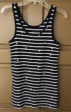A New Day Womens Navy Blue and White Gold Dots Striped Tank Top Size Large