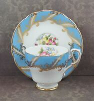 Vintage F104 Paragon Turquoise Blue Floral Bone China Tea Cup and Saucer