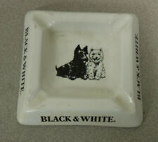Vintage Balck & White Whisky Ash Tray Square w Dogs
