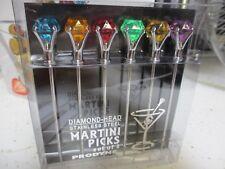6x color Diamond top Cocktail PICKS for MARTINI GLASS glasses olive PRODYNE