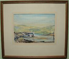 Original Watercolour Painting MOORED SAILING BOAT by Irish Artist ROBERT BEATTIE