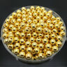 NEW 6mm 100Pcs Golden Acrylic Round Pearl Spacer Loose Beads Jewelry Making