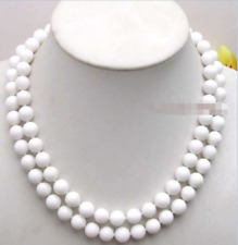 Long 36'' Natural 10mm White Jade Round Gemstone Beads Necklace