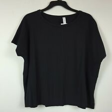 Ideology Womens Size Small Black Round Neck Active Wear Short Sleeve Top NEW