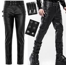 Pantalon cuir jeans enduit gothique punk métal zip tête de mort stylé PunkRave