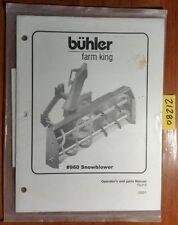 Buhler #960 960 Snowblower Snow Blower Owner Operator & Parts Manual FK315 5/01