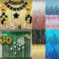 2M-3M Self Adhesive Foil Fringe Tinsel Shimmer Curtain Happy Birthday Party Door