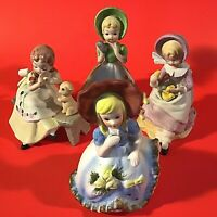 LITTLE GIRLS FIGURINES SET OF 4 PETS CHICKS PUPPY KITTEN  PORCELAIN BISQUE