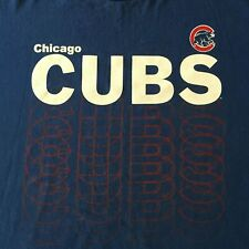 Chicago Cubs T Shirt Sz XL Blue Spell Out MLB Genuine Merchandise