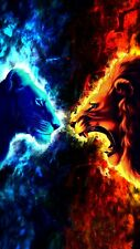 Lions Fire And Ice - Animal Wall Art Home Decor Large Poster & Canvas Pictures