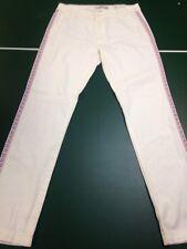 NWT Adam Levine Women's Off-white Pants Straight Leg Size 7/8 Blue Orange Trim
