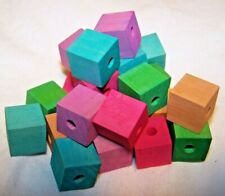 "25 Bird Toy Parts Colored Wood Blocks 5/8"" Square Small Parrot Toy W/3/16"" Hole"