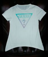 Guess Girls White Round Neck Short Sleeves Print Top Blouse T shirt 7 8 12 14