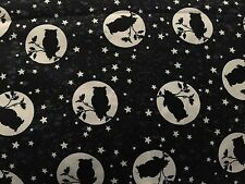 Owls Owl Silhouette Over Moon & Stars GLOW IN THE DARK Halloween Fabric BTHY