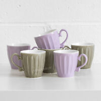 Set of 6 Lilac Pink & Green Mugs Embossed Rattan Coffee Latte Cappuccino Cups