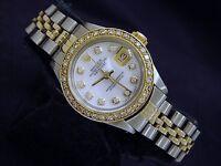Rolex Datejust Lady 2Tone 14K Gold Steel Watch White MOP w/ Diamond Dial & Bezel